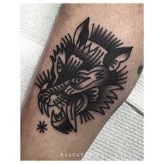 JACA tattoo old school wolf head