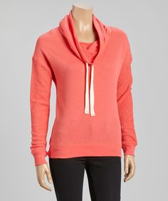 Look what I found on #zulily! Inspired Hearts Coral Terry Cowl Neck Sweatshirt by Inspired Hearts #zulilyfinds