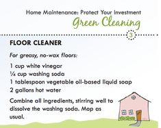 Green Cleaning Recipe for no-was floors