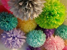 20 Tissue paper pom poms, Wedding decorations, Baby, Bridal shower, Rehearsal, Party decorations. Hanging pom poms. Hanging flower ball
