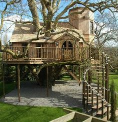 From simple tree house plans for kids to the big ones for adult that you can live in. If you're looking for tree house design ideas. Find and save ideas about Tree house designs. Beautiful Tree Houses, Cool Tree Houses, Beautiful Homes, Amazing Tree House, Nice Houses, Awesome House, Beautiful Images, Kids House, My House