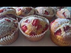 Mafini sa jagodama/Brzo i jednostavno/Mera na čaše - YouTube Muffins, Dessert Recipes, Desserts, Cupcakes, Breakfast, Sweet, Youtube, Mini, Food