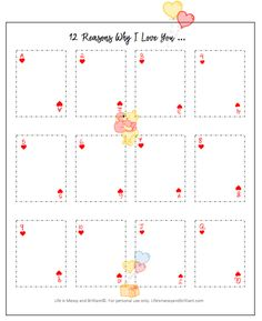 FREE 12 Reasons Why I love You Bullet Journal Printable