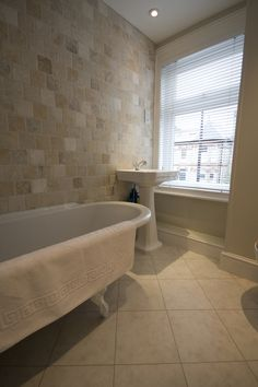 The Sand tone bathroom tiles on the wall for the floor Beach Bathrooms, Bathroom Spa, Bathroom Floor Tiles, Bathroom Ideas, Sloped Ceiling Bathroom, Cambridge, Style Tile, Architect Design, Bathroom Renovations