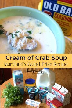 Maryland is for crabs and this cream of crab soup won the grand prize for the best recipe at the Annual National Hard Crab Derby in Crisfield, Maryland. Can't get any better than that! Cream of Crab Maryland Cream Of Crab Soup Recipe, Maryland Recipe, Maryland Crab Soup, Md Crab Soup Recipe, Crab Recipes, Chowder Recipes, Easy Soup Recipes, Dinner Recipes, Easy Cooking