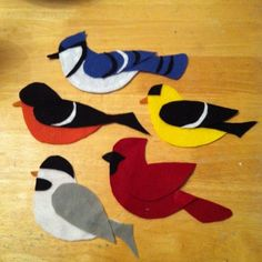 Little Birds: bluejay, goldfinch, cardinal, chickadee, oriole ... sing Little Bird song, five little birds fingerplay, two little songbird (two little blackbirds) ... and patterns!