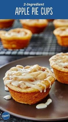 Yes, you can make tasty apple pie cups with just two ingredients that make enough servings to feed a crowd! All you need is a can of Pillsbury™ refrigerated cinnamon rolls and some apple pie filling. and a large scoop of ice cream to serve them with! Mini Desserts, Fall Desserts, Just Desserts, Delicious Desserts, Dessert Recipes, Yummy Food, Brunch Recipes, Easy Apple Desserts, Breakfast Recipes