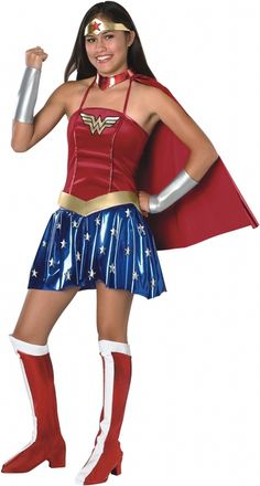 Wonder Woman Teen Halloween Costume - This is an officially licensed DC Comics Wonder Woman costume. The costume consists of a halter style dress with a fitted red velvety upper half, which has the yellow Wonder Woman logo, and a bottom half that is a blue metallic knit with white stars. #superhero #yyc #calgary #costume #teen