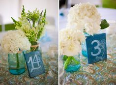 Hand Painted Table numbers with White Hydrangea and mason jars, Simply Blue Weddings | Weber Photography