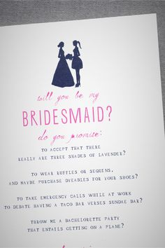 Bridesmaid Silhouette Card in SHOP Décor Stationery at BHLDN
