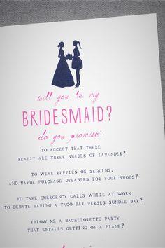 Bridesmaid Silhouette Card from BHLDN