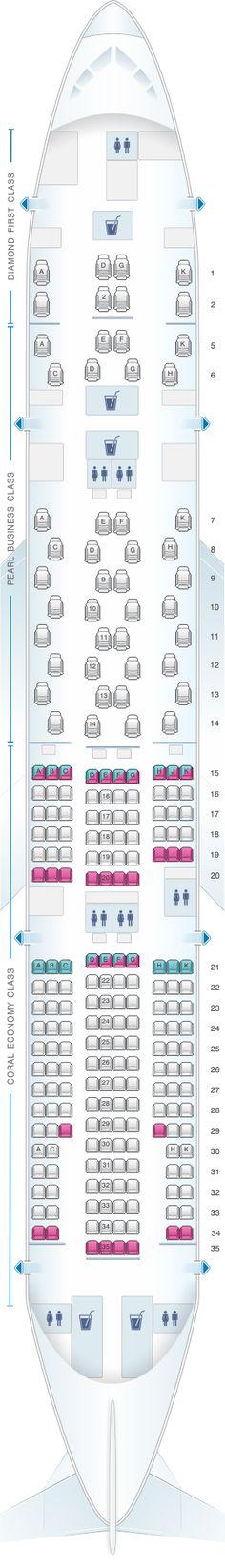 Seat Map Etihad Airways Boeing B777 200LR