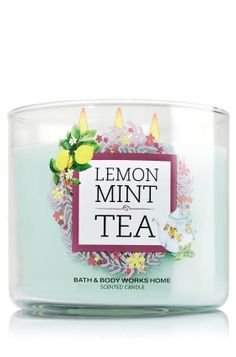 "Lemon Mint Tea - 3-Wick Candle - Bath & Body Works - The Perfect 3-Wick Candle! Made using the highest concentration of fragrance oils, an exclusive blend of vegetable wax and wicks that won't burn out, our candles melt consistently & evenly, radiating enough fragrance to fill an entire room. Topped with a flame-extinguishing lid! Burns approximately 25 - 45 hours and measures 4"" wide x 3 1/2"" tall."