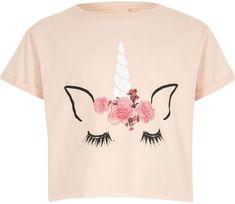River Island Girls Pink unicorn crop T-shirt. Jersey fabric. Unicorn print, Crew neck, Short rolled sleeveJersey fabric. Unicorn print, Crew neck, Short rolled sleeve. {affiliate link} #unicorn #unicorntop #unicorntshirt #girlsunicornclothing