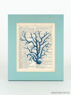 Turquoise sea coral dictionary print  on Upcycled by naturapicta, $7.99