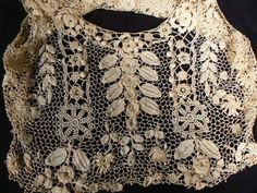 Antique Victorian Irish crochet lace camisole bodice museum quality exquisite