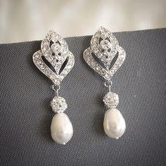 Bridal Earrings, Crystal Wedding Earrings, Swarovski Teardrop Pearl Stud Earrings, Art Deco Rhinestone Chandelier Bridal Earrings, LORNA by GlamorousBijoux on Etsy https://www.etsy.com/listing/191559426/bridal-earrings-crystal-wedding-earrings