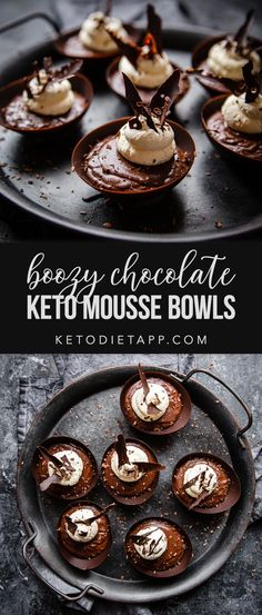 Boozy Keto Chocolate Mousse Bowls Decadent dark chocolate bowls filled with rich and velvety whiskey flavored chocolate mousse. This is the perfect low-carb dessert for any special occasion! Keto Chocolate Mousse, Chocolate Bowls, Low Carb Chocolate, Chocolate Desserts, Chocolate Decorations, Keto Friendly Desserts, Low Carb Desserts, Easy Desserts, Dessert Recipes
