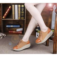 Women's #brown leather #rocker sole shoe classic lace up style, sewing thread design, leather upper and lining.