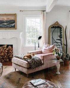 Spotted in the home of Carley Summers ( a blush velvet chaise by Interior Define living rooms living room ideas living room room ideas modern room ideas diy Living Room Decor Inspiration, Living Room Decor Cozy, My Living Room, Living Room Furniture, Rustic Furniture, Antique Furniture, Modern Furniture, Furniture Storage, Simple Furniture