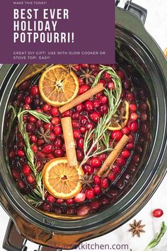 DIY Christmas gifts or a perfect simmering holiday potpourri to make for yourself!  So easy to fill your house with the lovely scent of fresh herbs, citrus, cranberries, and the perfect spices! When the weather starts to get cooler, I just love to have a simmering pot of this DIY potpourri on the stove or in the slow cooker.  And a Christmas potpourri gift is an inexpensive, welcome gesture that shows the recipient your thoughtfulness. Christmas Recipes, Holiday Recipes, Christmas Decor, Christmas Gifts, Paleo Fall Recipes, Real Food Recipes, Yummy Food, Potpourri Recipes, Dried Lemon