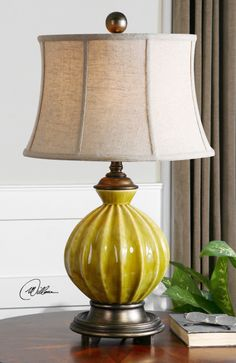 Provence Yellow Ceramic Lamp DesignNashville.com. Transitional Lamp Collection