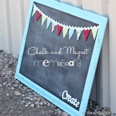 Love that this was made with mostly just some paint- magnetic paint, chalkboard paint and spray paint.