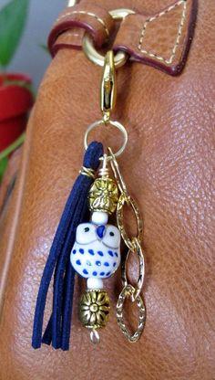 MINI Boho Purse Charm, Tassel, Zipper Pull, Owl Key Chain - Navy Blue, White, Gold, Ceramic, Glass Beaded