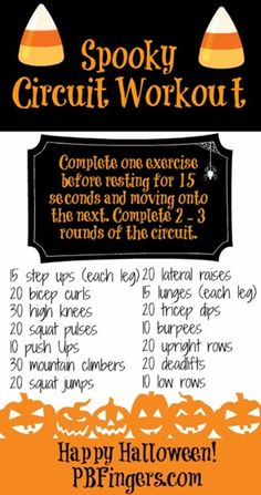 Spooky Circuit Workout from Peanut Butter Fingers! Get movin, ladies!