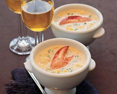 Corn Chowder with Lobster, from Food & Drink - well worth the work - can use canned/frozen lobster meat if you can't fathom using a live lobster. Chowder Soup, Chowder Recipes, Corn Chowder, Live Lobster, Lobster Meat, Lobster Recipes, Fish Recipes, Drink Recipes, Lobster Risotto