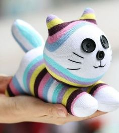 Stuffed cat doll toy plush Personalized cat by Toyapartment Sewing Toys, Sewing Crafts, Sewing Projects, Pet Toys, Baby Toys, Baby Stuffed Animals, Easter Toys, Sock Toys, Sock Crafts