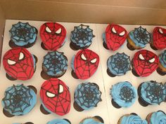 Spider man cupcakes. Do the web with chocolate on plastic first