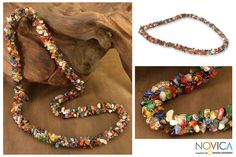 Long Beaded Multigem Necklace - Rainbow | NOVICA
