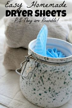 Easy Homemade Dryer Sheets - PS They are Reusable! <br> Save money on your laundry bill with a few of these great tips and by making these easy homemade dryer sheets, and they are reusable. Homemade Cleaning Products, Cleaning Recipes, House Cleaning Tips, Natural Cleaning Products, Cleaning Hacks, Diy Hacks, Green Cleaning, Cleaning Supplies, Cleaning Solutions