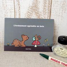 【ポストカード/No.12 バンビとリス】バンビとリスのイラストのポストカード。フランス語意味--森の中の楽しい出来事サイズ:100×148mmオ...|ハンドメイド、手作り、手仕事品の通販・販売・購入ならCreema。