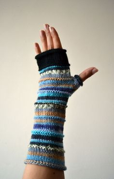 Blue Fingerless Gloves - Merino Wool Gloves - Blue Accessories - Pastel Colors - Knit Fingerless - Fashion Gloves nO 43. by lyralyra on Etsy