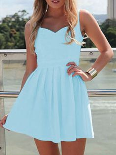 Blue Sweetheart Cut Out Back Mini Skater Dress | abaday