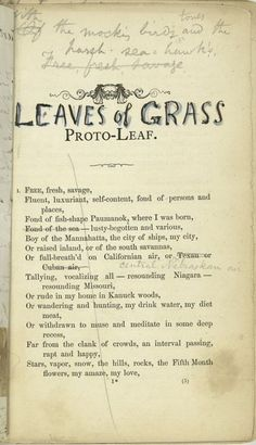 bartleby-company:  Leaves of grass Walt Whitman