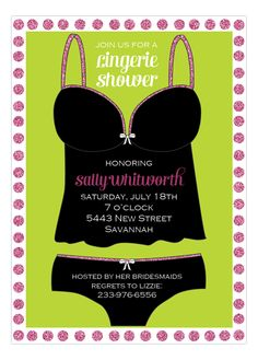 Picture Perfect | Sparkling #Lingerie Pink Invitation | Polka Dot Design