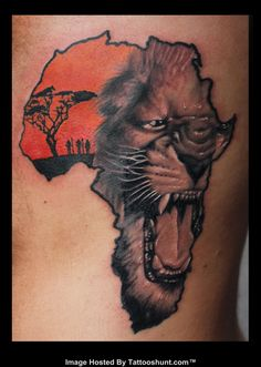 e151eb999e0e9 Outline Lion Face In African Map Tattoo On Full Back African Warrior Tattoos,  African Tribal