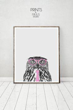 Owl Print Animal Photo Pink Glassess Kids by PrintsMiuusStudio