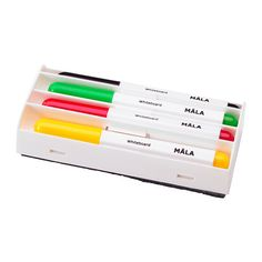 MÅLA Whiteboard pen - $3 for 4-pk with eraser - ages 3+ - stains most surfaces and materials