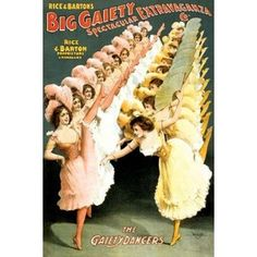 The Gaiety Dancers 1900 Canvas Art - Courier Litho Company (12 x 18)