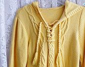 Vintage YELLOW HOODIE SWEATER  Ladies Size Medium to Large, Cotton Blend, Cable Knit Detail, Business Casual, Prep School Work Ski Snowboard