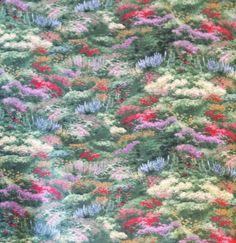"Thomas Kinkade ""Flower Landscape"" Fabric Licensed by David Textiles, INC."