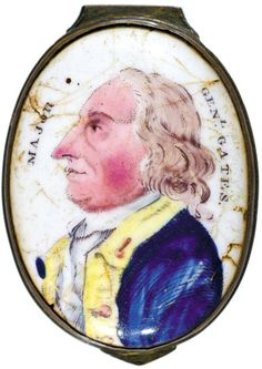 Hand-Painted Portrait General Horatio Gates c. 1776 18th Century Revolutionary War Era, Battersea Box Cover, displaying a Hand-Painted Portrait of American Major General Horatio Gates of the Cointinental Army under General George Washington,