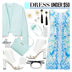 """""""No 378:Dress Under $50"""" by lovepastel ❤ liked on Polyvore featuring MANGO, Lilly Pulitzer, Anja, Marc Fisher, IRO, Fallon, Kate Spade, Lizzie Fortunato, NARS Cosmetics and Jennifer Behr"""