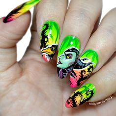 Maleficent nails by 3d Nail Art, 3d Nails, Cute Nails, Maleficent Nails, Disney Nails, Holiday Nails, Nails Inspiration, Nail Designs, Dreamworks