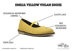 Emilia mary jane vegan shoes yellow ecological microfibre, crepe sole natural rubber