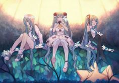This HD wallpaper is about three female anime characters illustration, thigh-highs, Vocaloid, Original wallpaper dimensions is file size is Vocaloid, Moe Anime, Anime Art, Rockabilly, Kaai Yuki, Kagamine Rin And Len, Mikuo, Original Wallpaper, Hd Wallpaper